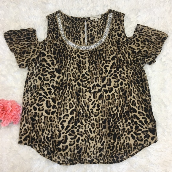 bed307a3a584 Meraki Tops - Leopard Print Sequined Cold Shoulder Top   N